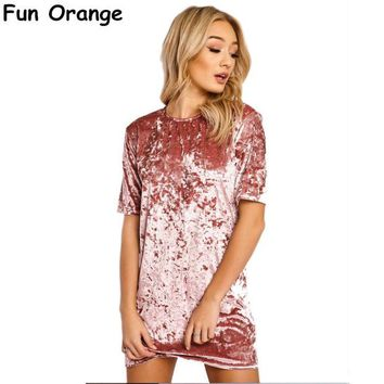LMFNO Fun Orange Short Sleeve Velvet Short Casual Women Dress 2017 New Fashion Women Clothing Elegant Party Dresses