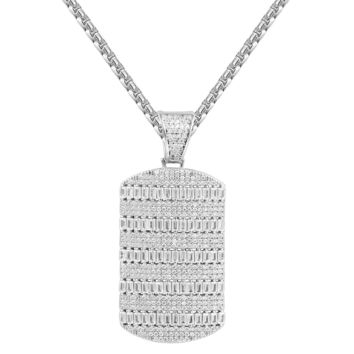 Sterling Silver Baguette Dog Tag Iced Out Pendant