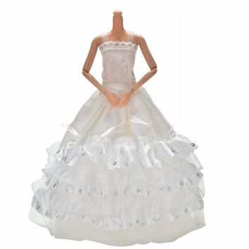 """1PCS New Cute Long Wedding Dress For 11"""" Doll White 3 Layers Lace Ball Gown Dress For Barbies DIY Baby Toys"""