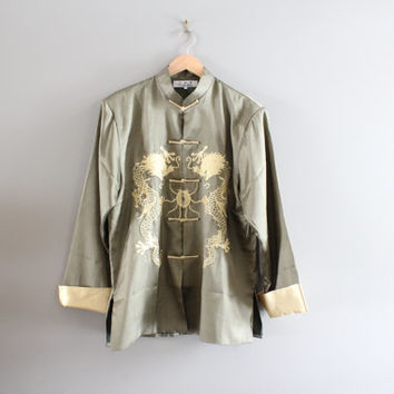 Cheongsam Dragon Chinese Embroidered Tai Chi Kung Fu Oriental Asian Jacket Chinoiserie Shanghai Tang Vintage Size L