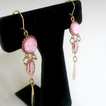 "RePurposed Pink Glass Gold Tone Pierced Dangle Earrings 3-1/8"" Long OOAK"