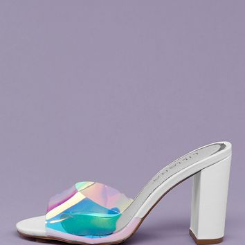 Peep Toe Clear Band Block Heel Mules