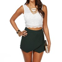 Ivory Crop Lace Chiffon Sleeveless Top