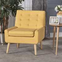 Eilidh Buttoned Mid Century Modern Muted Yellow Fabric Chair