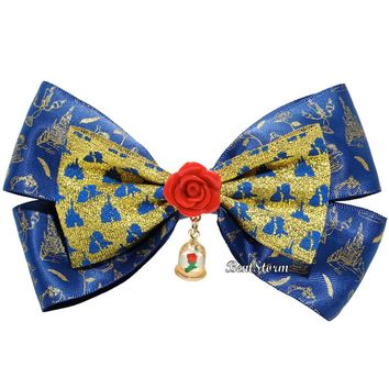 Licensed cool Disney Beauty & the Beast Belle Enchanted Rose Dome Costume Cosplay Hair Bow