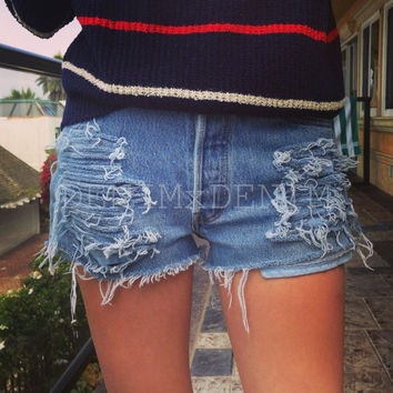 High Waisted Denim Cut Off Shorts, Levi's Low Rise Levi Wrangler Denim Shorts