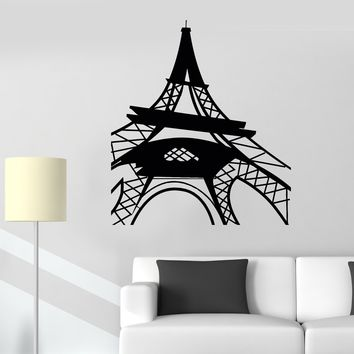 Vinyl Wall Decal Eiffel Tower Paris French Style Girl Room Stickers Unique Gift (623ig)