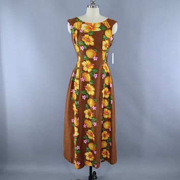 Vintage 1960s Hawaiian Paradise Maxi Dress / Brown Floral Print