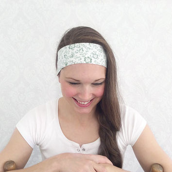 Green and White Pilates Headband, Bohemian Headband, Head Wrap, Boho Headband Shabby Chic, Fashion Accessory, Turband, Teen Gift Ideas