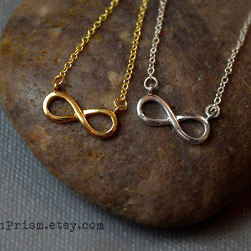 Infinity Symbol Charm Pendant / Gold or Silver Chain Necklace / Dainty Delicate necklace / Simple Necklace   Eternity Symbol