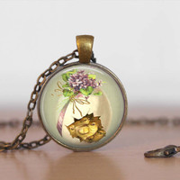 Easter pendant  with rolo style chain necklace.  Vintage Easter image, nostalgic art, art pendant for Spring