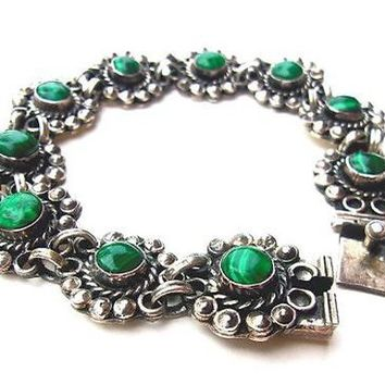Malachite Mexico Sterling Silver Bracelet Cabochons Green Floral Southwest Vintage