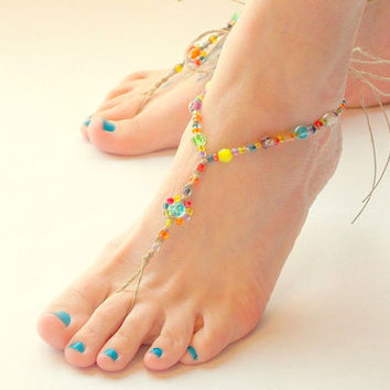 Glow in the Dark Uv BAREFOOT SANDALS  Festivals Beach Party Summer Barefoot Jewelry Hippie Shoe Toe Thong Colorful Rainbow