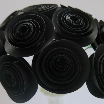 "Black paper roses, one dozen 1.5"" flowers on stem, wedding reception floral centerpieces, bridal shower party"
