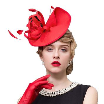 Royal Red Fascinators Vintage Derby Party Style