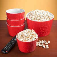 Couch Time Ceramic Popcorn Bowl Set