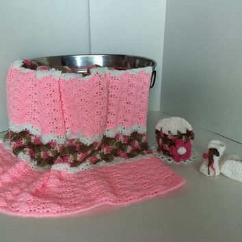 Baby/Toddler Girls Pink and Pink Camo Afghan with hat and booties  by SnugableTouches