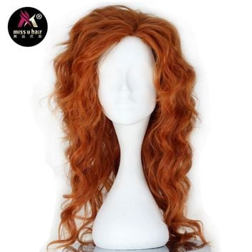 Auburn Synthetic Long Fluffy Curly Cosplay Costume Wig