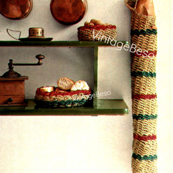 Baguette Bread Bag and 2 Baskets 1970's Vintage CROCHET Pattern is useful practical while made by your loving hand Instant Download Pdf