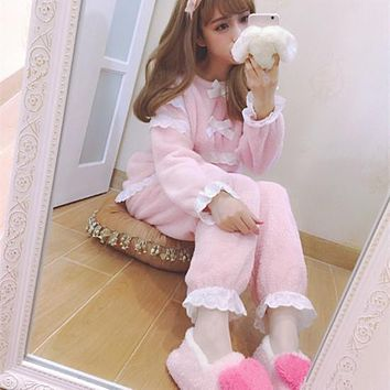 High quality Young Girls Cute Pink Nigthgown Coral Fleece/ Velvet Long Sleeve Winter Women Sleepwear Leisure Wear Pajamas Sets