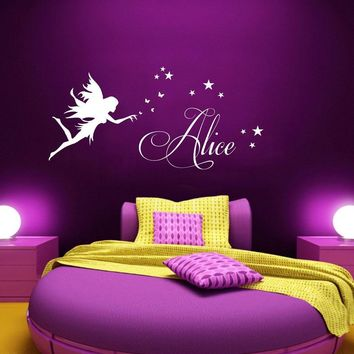 Personalised Any Name Fairy Stars Girls Wall Stickers Removable Self-Adhesive Decal Custom Name Kids Room Bedroom Home Decor