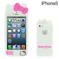 Sanrio Hello Kitty 3D Silicone iPhone 5 Case with Ears (White)