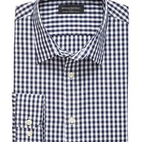 Banana Republic Mens Factory Tailored Slim Fit Non Iron Navy Gingham Shirt