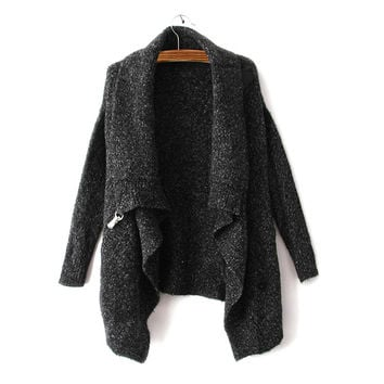 Womens Black Knitted Sweater Cardigan