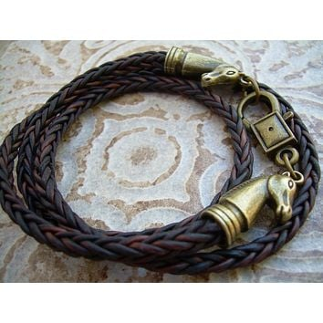 Horse Lovers Gift, Leather Bracelet, Horse Bracelet, Equine, Equestrian, Triple Wrap, Antique Brown Braided, Mens Bracelet, Womens Bracelet