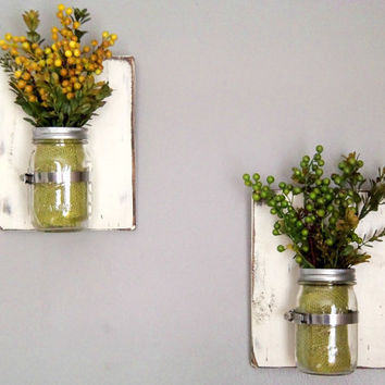 Wooden Wall Sconces, Wall Sconces, Set of 2 Sconces, 16 oz Mason Jars, Distressed Wood, White in Color, Rustic Wall Decor, Mason Jar Decor