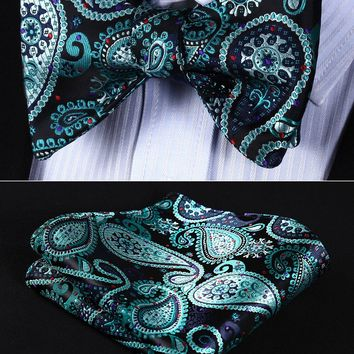 BP706QS Aqua Black Paisley Bowtie Men Silk pocket square Self Bow Tie Party wedding handkerchief set