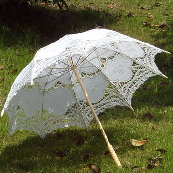 2015 Bridal Umbrella White Lace Parasol Handmade Summer Battenburg Lace Wedding Umbrella Wedding Decorations Wedding Accessories
