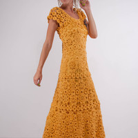 Crochet maxi dress handmade maxi dress Crochet yellow lacy dress Handmade yellow linen Dress Crochet Beachwear,crochet evening garment