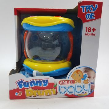 My First Funny Drum 6 Buttons With 5 Musical Style Sounds & Lights Plastic Toddler/Baby Toy