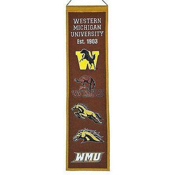 Western Michigan University Broncos NCAA 8x32 Wool Heritage Banner