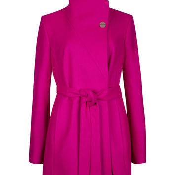 Short wrap coat - Deep Pink | Jackets & Coats | Ted Baker