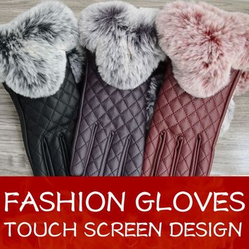 Touch screen gloves 2017 New Style Winter Gloves For Women and girls Fur Leather Glove female Fashion gloves Free Shipping