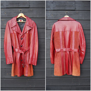 60s 70s Paneled Leather Jacket, Vintage Boho Rust Suede Jacket, Psychedelic Hippie Woodstock Stoner, Belted Pointy Collar Disco Jacket, M L