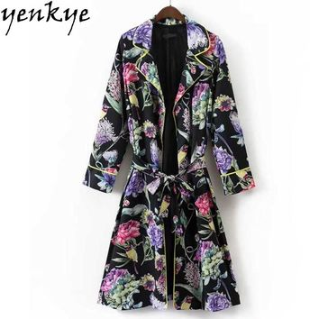 Autumn Vintage Black Multi Color Printed Trench Coat Women Turn-down Collar Long Sleeve With Belt Cardigan Windbreaker