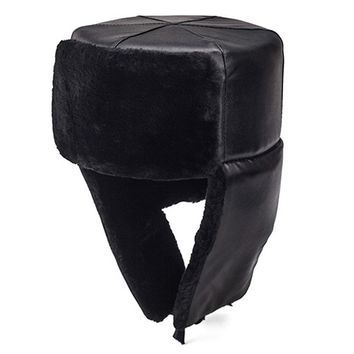 Russian Style Men Warm Winter Hat With Ears Flaps Thermal Ushanka Cap Windproof PU Leather Fur Bomber Hats Black Size 58