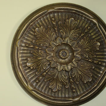 "Antiqued Ceiling or Wall Medallion, 21"" Ceiling Medallion, Ornate Medallion, ceiling medallion"