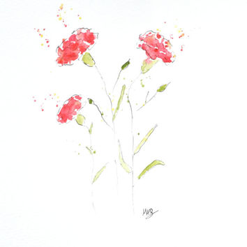 Watercolor Carnation Flower Painting – Original Watercolor Art, Nursery Wall Decor,  Home Decor, Carnation Paintings - by MABartStudio