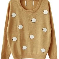 Nursery Rhymes Sheep Pattern Oversized Sweater in Mustard | Sincerely Sweet Boutique