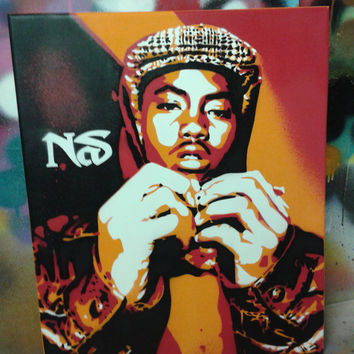 Nas custom painting,stencils,spray paints,hip hop,rap,newyork,america,urban,wall art,gift,music,culture,queens,illmatic,hand made