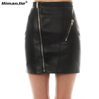 HimanJie Sexy PU Leather Skirt  Women Soft PU Leather High Waist Slim Hip Pencil Skirts Zipper Bodycon Mini Skirt Clubwear