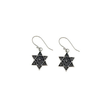 Jewish Museum Star Of David Sterling Silver Drop Earring