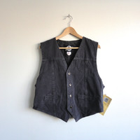 Denim Button Up Vest - 80s/90s NWT R G Brown's Faded Black Denim Vest - Size Med/Lrg Made In Canada Jean Vest