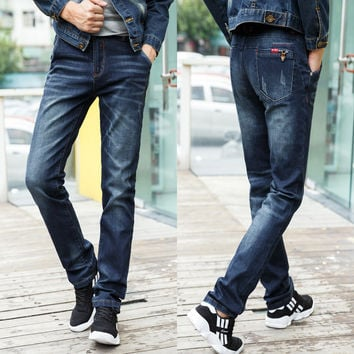 Winter Men Korean Slim Stretch Casual Jeans [6528731011]