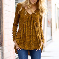 Water Under The Bridge Mustard Blouse
