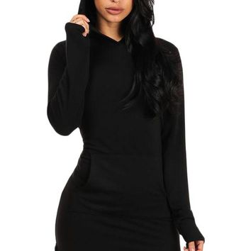 Black Long Sleeve Hooded Cotton Mini Dress